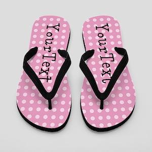 b3689927d Customize Pink Polka Dot Personalized Flip Flops