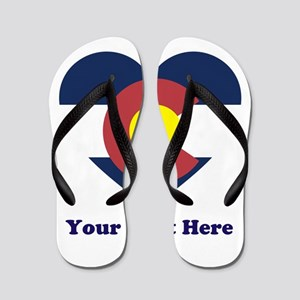 Colorado Flag Heart Personalized Flip Flops