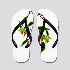 8aedd7443 Pepper plant graphic with word pepper Flip Flops