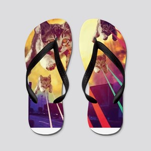 Laser Eyes Space Cats Flying T-Shirt Flip Flops