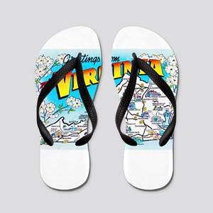 Virginia Map Greetings Flip Flops