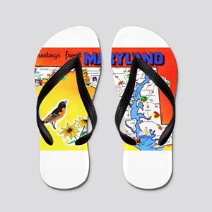 Maryland Map Greetings Flip Flops