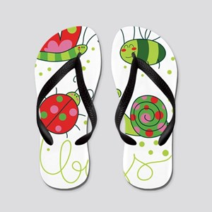 Cartoon Bugs Flip Flops