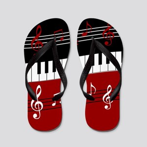 Stylish Piano keys and musical notes Flip Flops