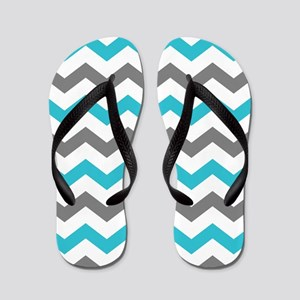 Teal and Gray Chevron Pattern Flip Flops