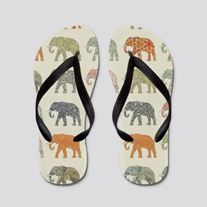 Elephant Colorful Repeating Pattern Dec Flip Flops