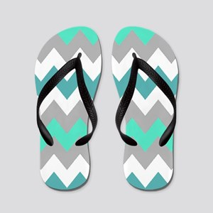 Shades of Gray and teal  Chevron Stripe Flip Flops