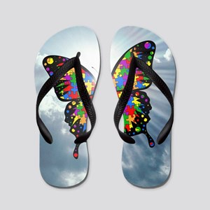 autism butterfly sky - square Flip Flops