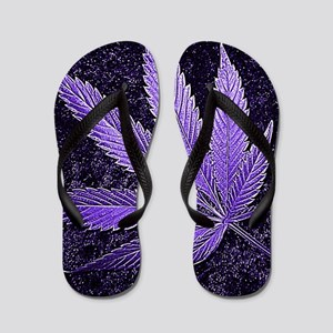 Purple Cannabis Leaf Flip Flops