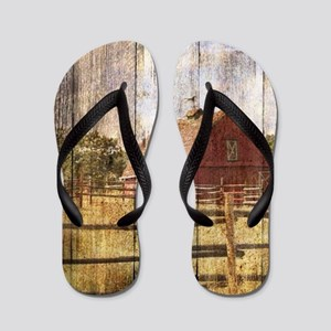 western country red barn Flip Flops