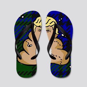 trump plaid poop Flip Flops