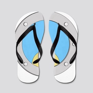 Porthole Baby With White Text Blue Back Flip Flops
