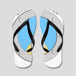 Porthole Baby With Black Text Blue Back Flip Flops