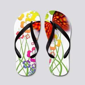 Butterfly With Shamrocks Flip Flops