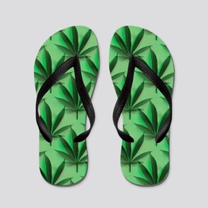 Cannabis Leaves Flip Flops