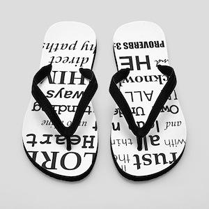 Proverbs 3:5-6 KJV Dark Gray Print Flip Flops