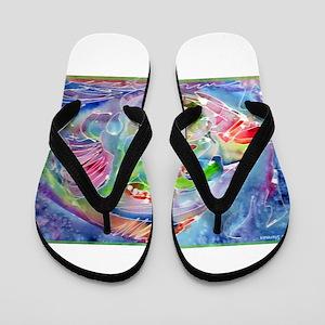 Tropical, Fish, bright, art, Flip Flops