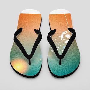 Abstract Dandelion Flip Flops