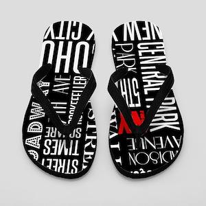 NY Streets Balck and White Flip Flops