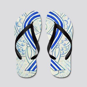 ALS Awareness Ribbon Angel Flip Flops