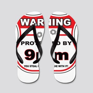 protected by 9mm shield Flip Flops