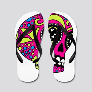 Pink Sugar Skull in Love Flip Flops