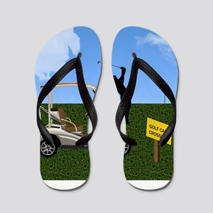 Golf Cart on Grass Crossing Warning Flip Flops