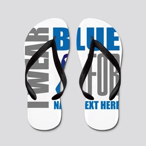 Blue Awareness Ribbon Customized Flip Flops
