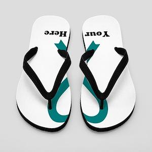 Personalized Teal Awareness Ribbon Flip Flops