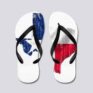 Texas Shape Flag Distressed Flip Flops