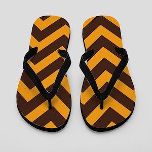Brown and Tart Orange Chevron Flip Flops