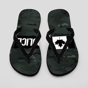 Canadian Police: Black Camouflage Flip Flops