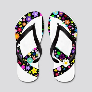 Hippie Flowery Peace Sign Flip Flops