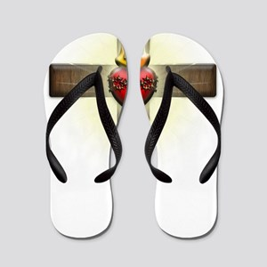 Sacred Heart of Jesus Cross Flip Flops