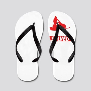 Problem Solved Funny Skiers Snowmobiles Flip Flops