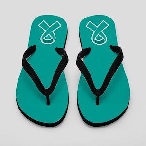 Teal Ribbon Awareness Flip Flops