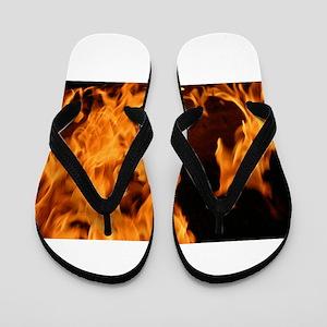 fire orange black flames Flip Flops