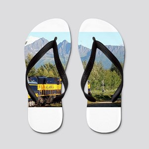 Alaska Railroad locomotive engine & mou Flip Flops