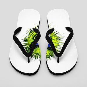 Green Spiky Monster Flip Flops