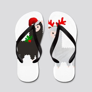 christmas reindeer alpacas Flip Flops