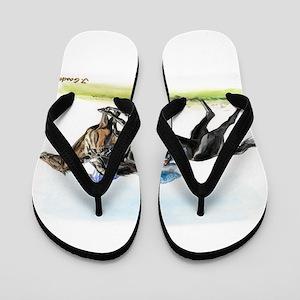 Horse race watercolor Flip Flops