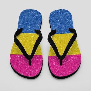 Glitter Pansexual Pride Flag Flip Flops