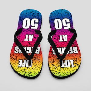 Life Begins At 50 Flip Flops