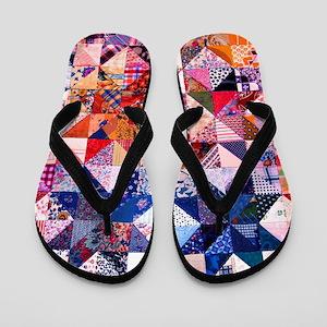 Country Patchwork Quilt Flip Flops