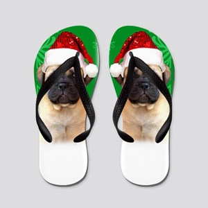 Christmas Bullmastiff puppy Flip Flops