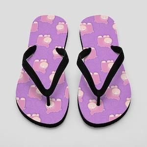 Pink Hippo Flip Flops- Purple Swirl
