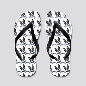 Boston Terrier Over the Line Flip Flops