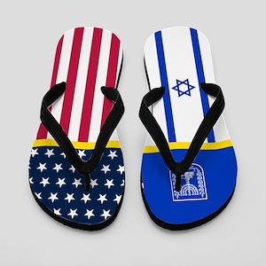 Israel Israeli American Flag Flip Flops