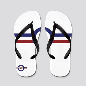 Retro scooter and mod target stripes Flip Flops