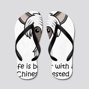 Life-is-better-with-a-Chinese-Crested Flip Flops